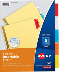 Avery 5-Tab Insertable Dividers Assorted Color Tabs Dividers 1 Set