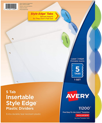 Avery 5-Tab Insertable Style Edge Tab Plastic Dividers, Letter Clear