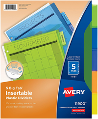 Avery 5-Tab Binder Dividers, Insertable Multicolor Big Tabs, 1 Set