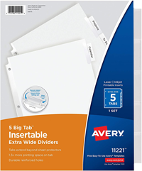 Avery 10-Tab Dividers, Customizable Table Of Contents, Multicolor Tabs, #1 Thru 10 1 Set