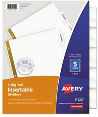 Avery 5-Tab Insertable Dividers Worksaver Extra-Wide Clear Tabs Recycled