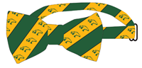 Bowtie Repeating Bronco Head Green & Gold