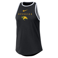 Nike Ladies Nike High Neck Tank Swoosh Over Broncos Blk/Wht