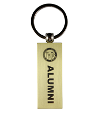 Alumni Key Tag Rectangle Stacked Logo Gold
