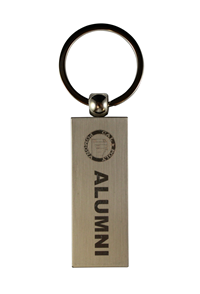 Alumni Key Tag Rectangle Stacked Logo Silver