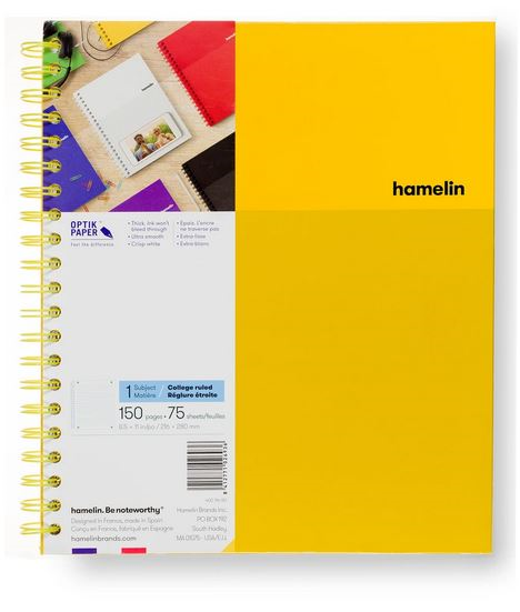 1 Subject Notebook 8.5 X 11 College Ruled Yellow (SKU 124111771349)