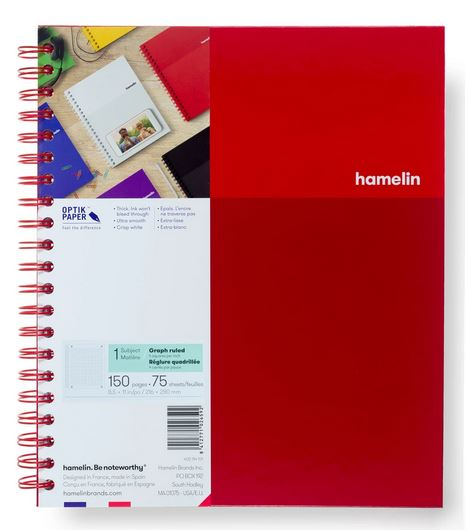 1 Subject Notebook 8.5 X 11 Graph Ruled Red (SKU 124112521349)