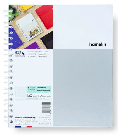 1 Subject Notebook 8.5 X 11 Graph Ruled White (SKU 124112691349)