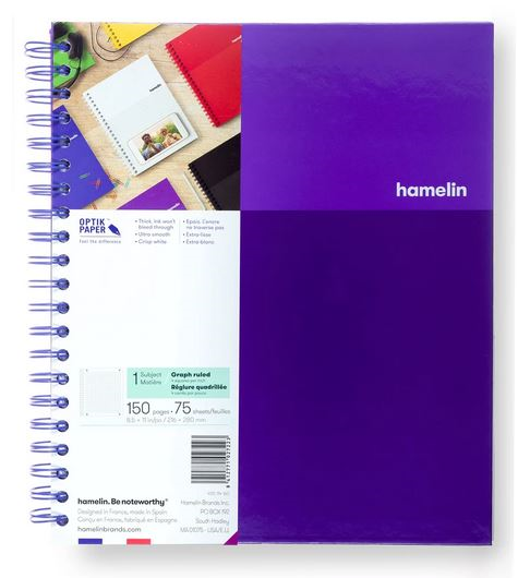 1 Subject Notebook 8.5 X 11 Graph Ruled Purple (SKU 124113061349)