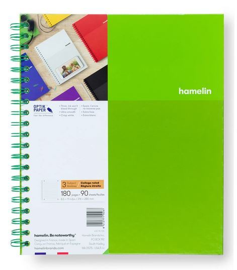 3 Subject Notebook 8.5 X 11 College Ruled Green (SKU 124113681349)