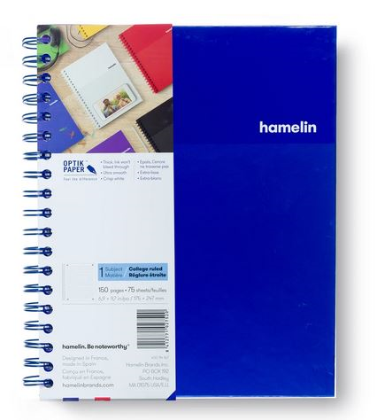 1 Subject Notebook 8 X 10 College Ruled Blue (SKU 124114121349)