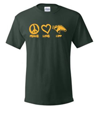 *Close Out Limited Sizes: Tee Peace Love CPP Dark Green