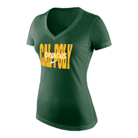 Nike Ladies Tee Triblend Mid V Cal Poly Broncos Fir Heather