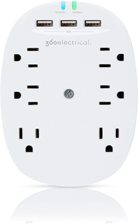 360 Electrical Studio 4.8 Surge Protector Wall Tap With 6 Outlets