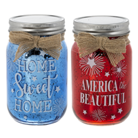 Americana Mason Jars W/ Light ASST (1 Unit)