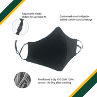 CONTOURED NOSE BRIDGE, 3 PLY 150 GSM 100% Cotton, Adjustable Elastic Ear slider for precise fit (PPE)